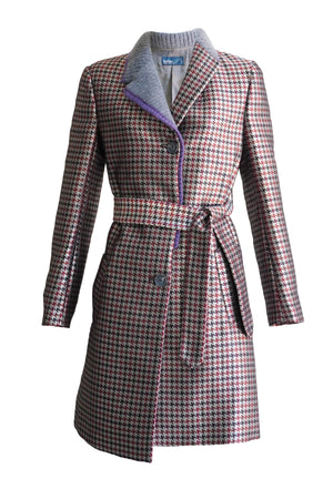Houndstooth Check Coat in Red Beige Multi
