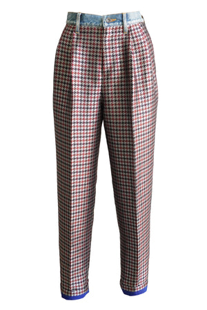 Houndstooth Check Pant in Red Beige Multi