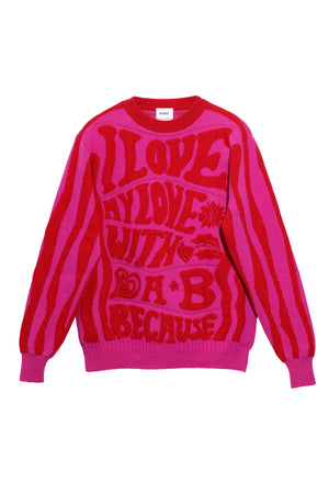 Pullover Sweater with Psychedelic Detail in Fuchsia/Red