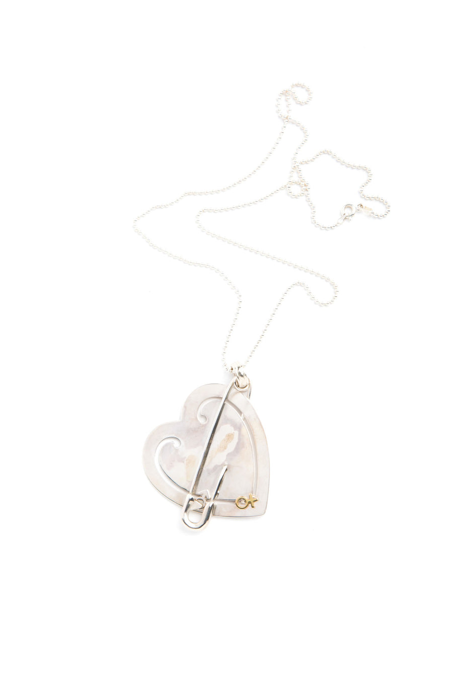 Tiffany & Co. 18K Gold and Sterling Silver Heart Gender Necklace