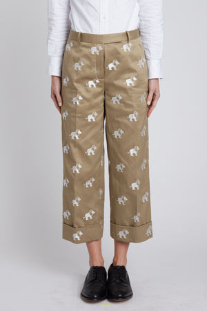 Lion Icon Embroidered Twill Sack Trouser in Beige