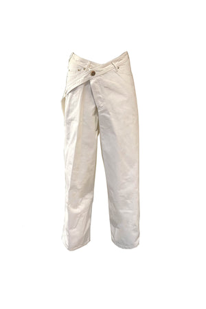 Belted Denim Pants in Optic White
