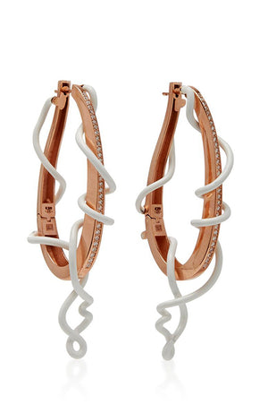 9K Rose Gold with White Pave Diamond Enamel on Silver Vines Drop Hoop Earrings