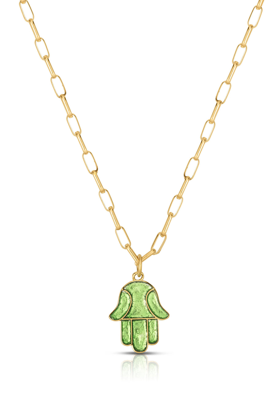 18K Gold & Enamel Mini Hamsa Necklace in Lime