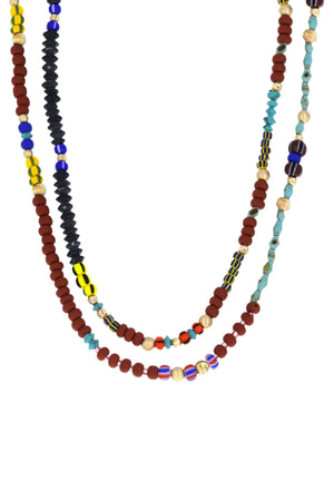 Multi-Colored African Beads Long Necklace 10K