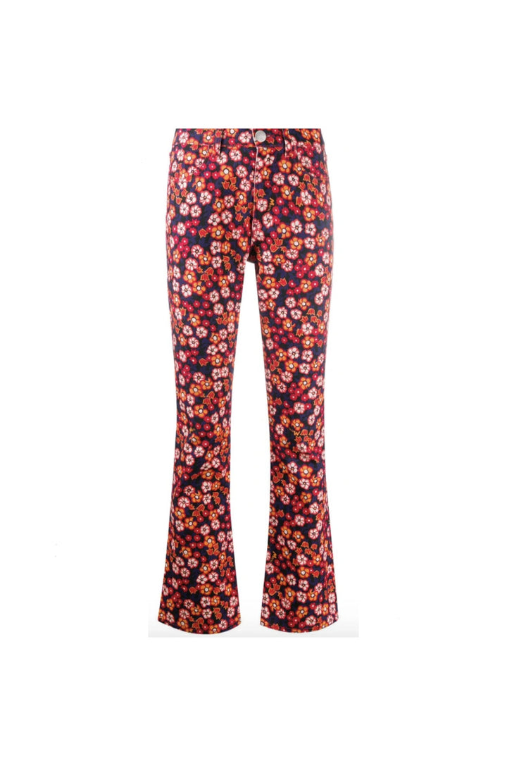 MARNI Floral Print Trousers in Red