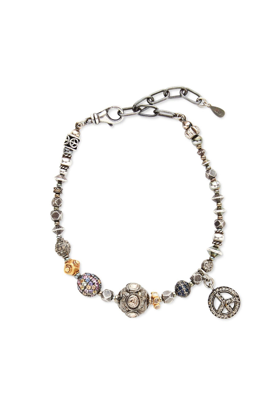 Sterling Silver with Gold, Diamonds, Precious and Semi-Precious Stones Peace Sign Capsule Bracelet
