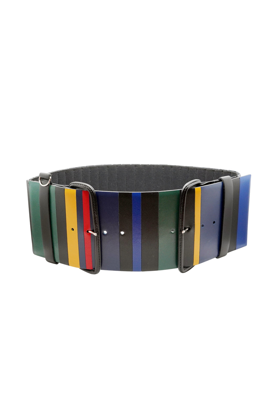 Wide Leather Accordion Belt - Mix
