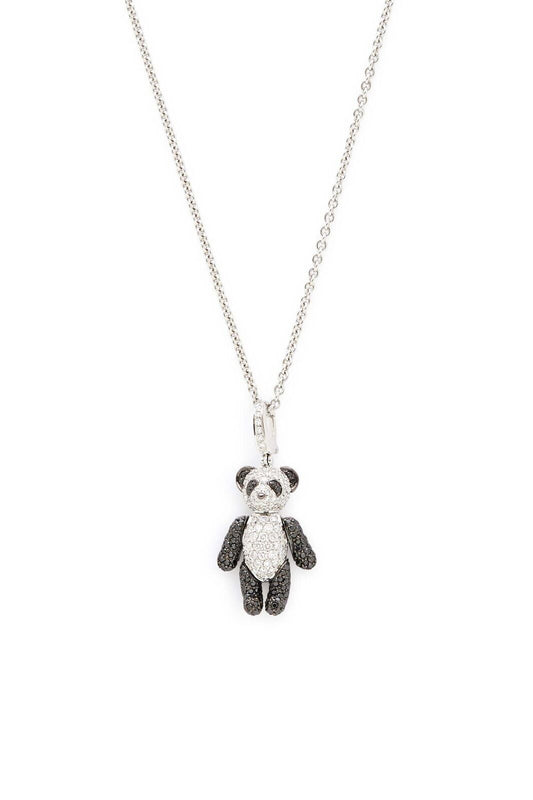 18K White Gold with Black and White Pave Diamonds Bo Bo Bear Necklace