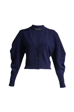 Draped Cashmere Cropped Cardigan in Indigo