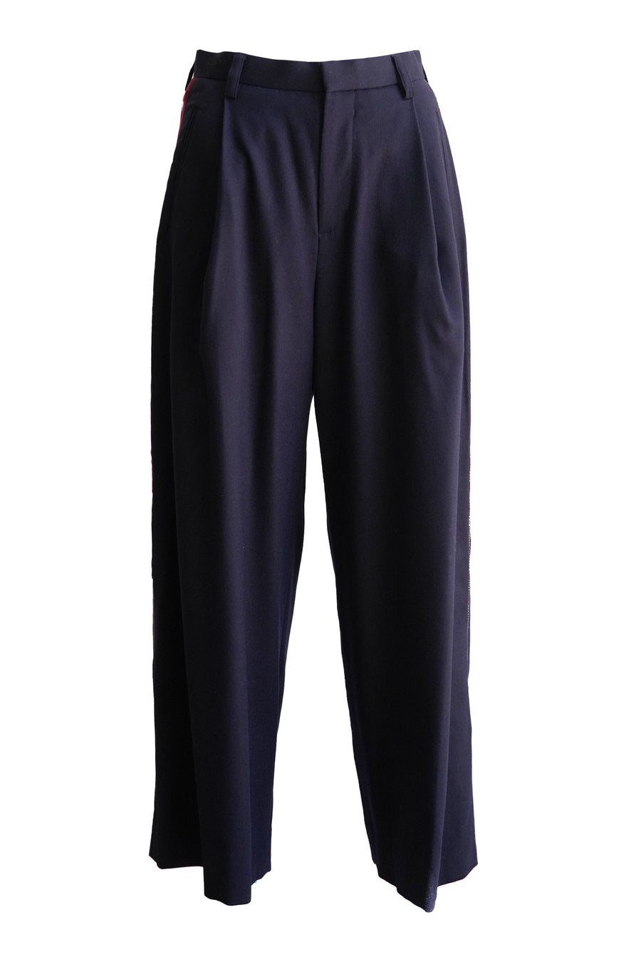Wool Embellished Chain Pant in Navy Blue