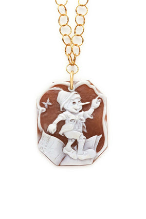 Gold Chain with Pinocchio Cameo Pendant Necklace