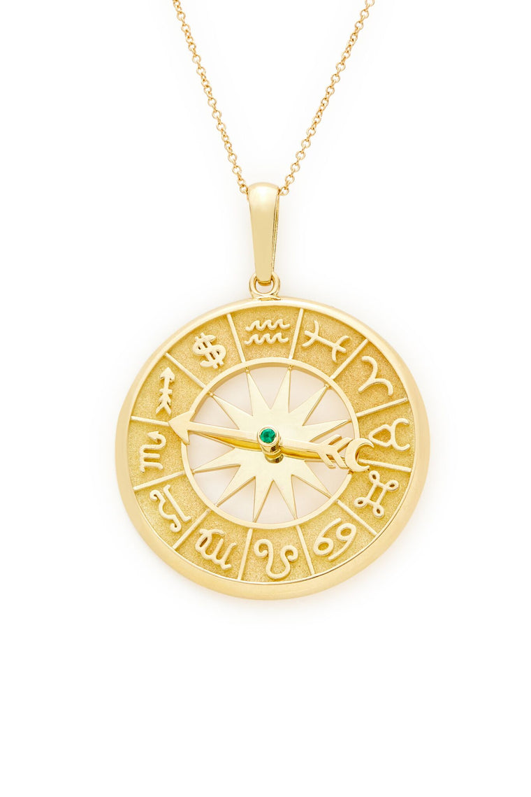18K Yellow Gold Zodiac $ Dial Pendant Necklace