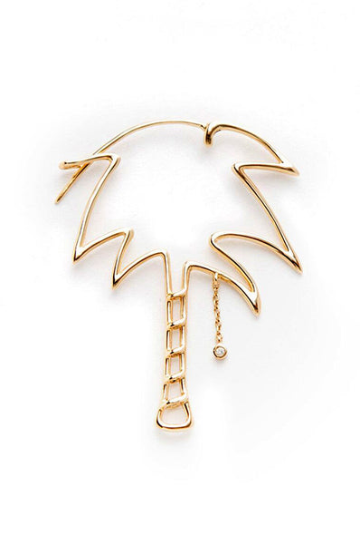 18K Yellow Gold with Grey Diamond Palm Tree Earring