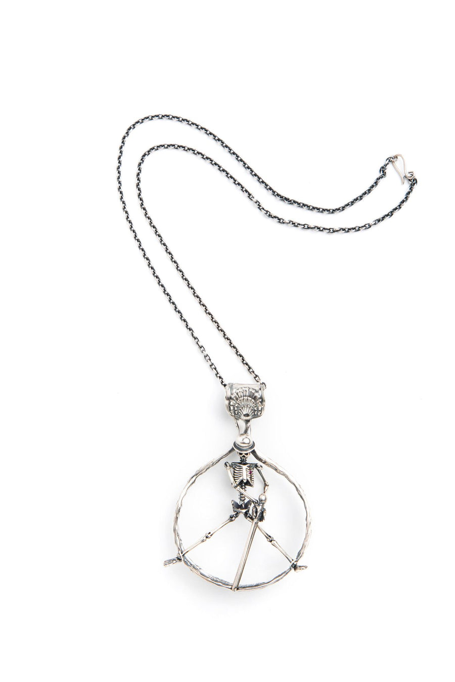 Sterling Silver Peace Sign Clockwork Necklace