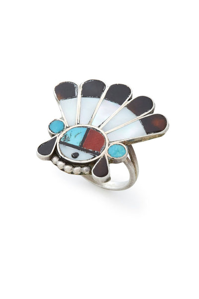 Sterling Silver Vintage Zuni Headdress Ring