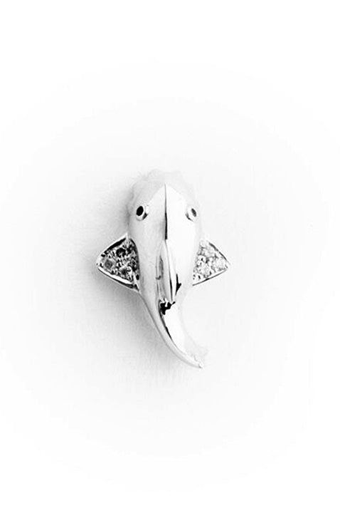18K White Gold with Grey and Black Diamonds Mini Shark Earring