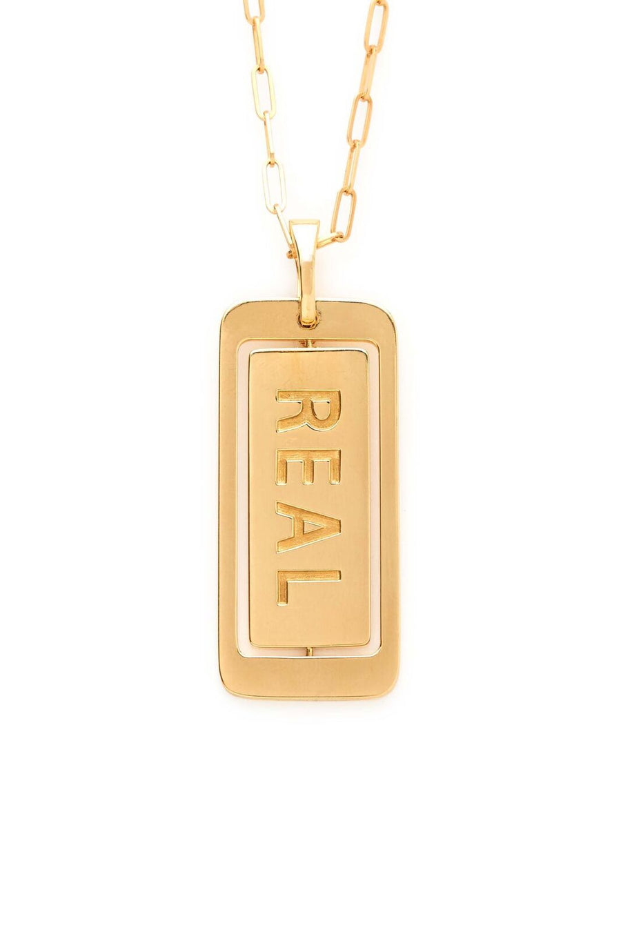 18K Gold Real/Love Engraved Pendant Necklace