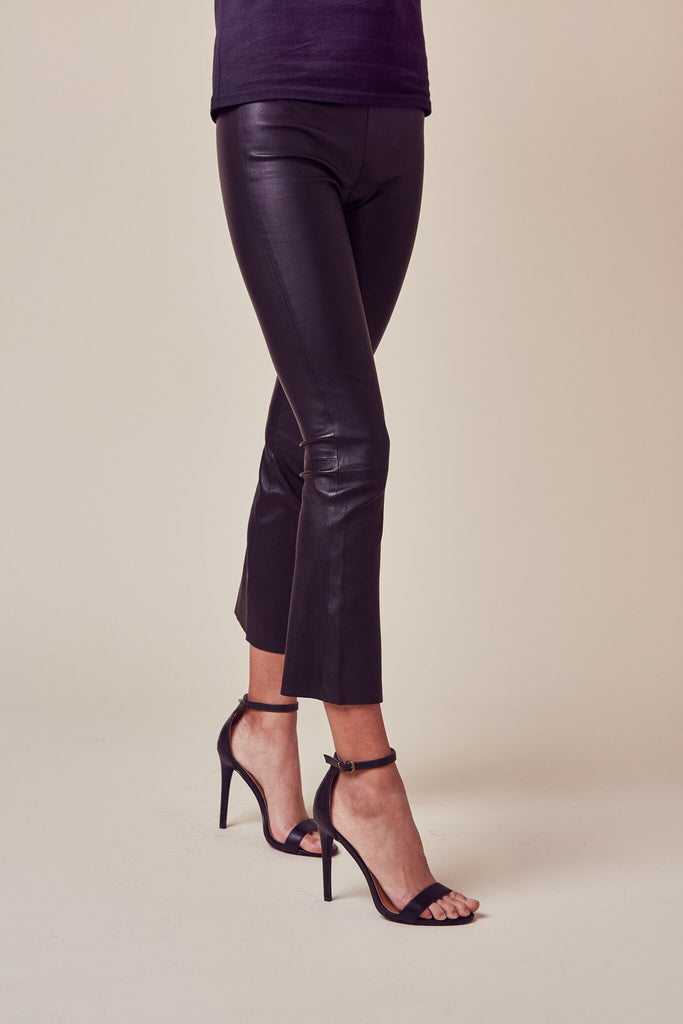 Black Crop Flare Leather Legging
