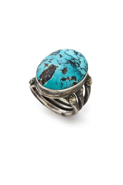 Sterling Silver Large Oval Turquoise Ring