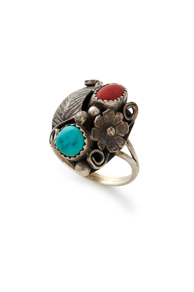 Sterling Silver Turquoise and Coral Floral Ring