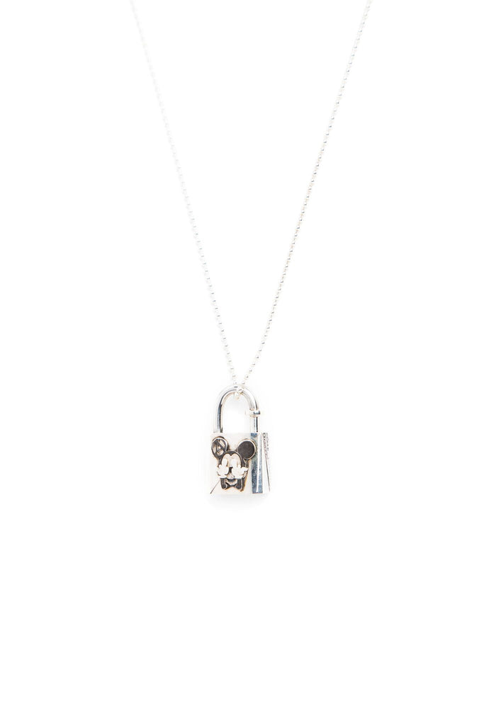 b6326c08a0933 Sterling Silver Lock Necklace with FUCK YOU Mickey Hands – Peri.A