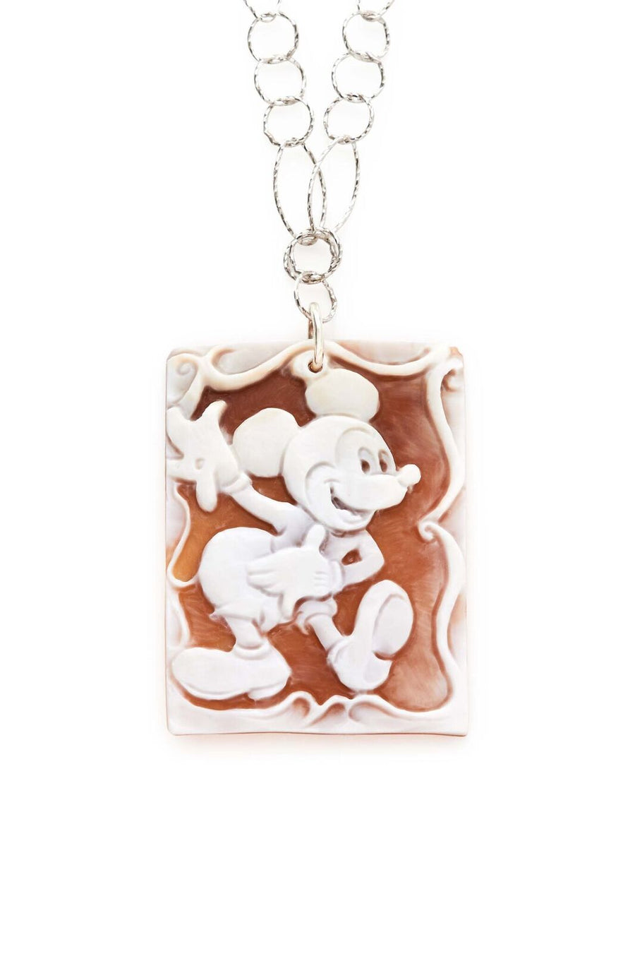 Sterling Silver Chain with Mickey Cameo Pendant Necklace