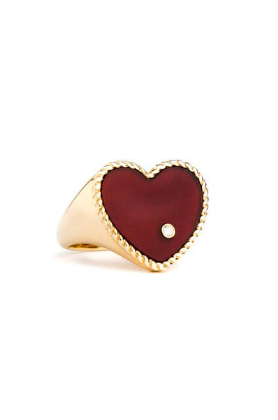 18K Yellow Gold Red Agate with Grey Diamond Heart Ring