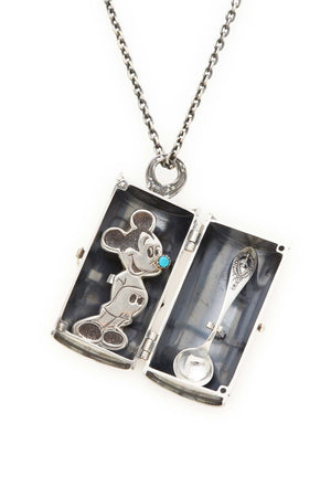 Sterling Silver Tiffany Spoon and Mickey Mouse Pin Cocaine Necklace