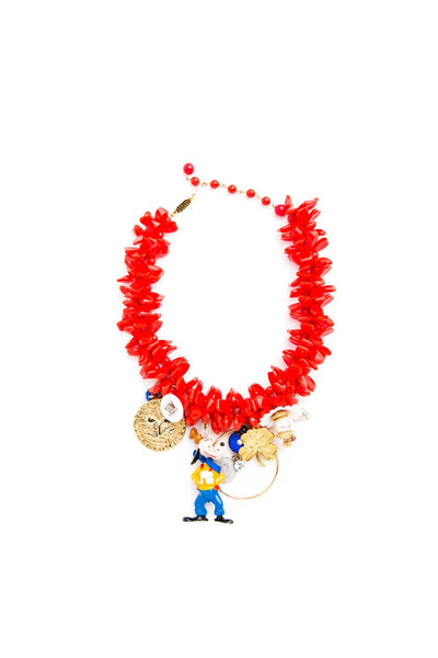 Red Goofy Vintage Charm Bib Necklace