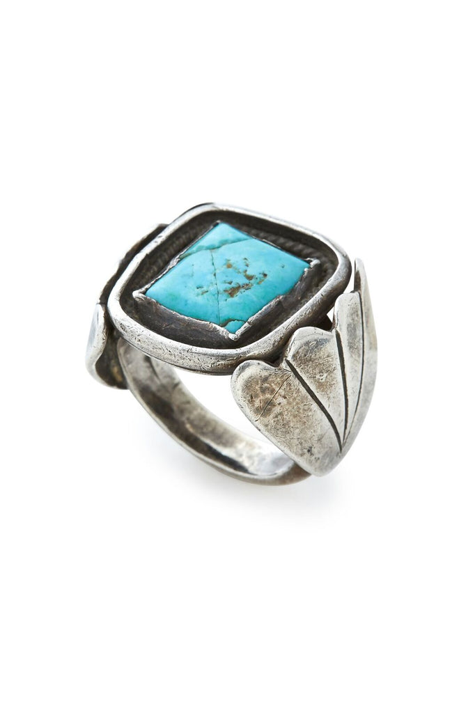 Sterling Silver Large Square Turquoise Ring