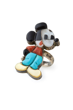 Sterling Silver Vintage Zuni Mickey Mouse Ring - SZ 6