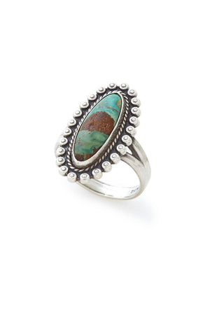 Sterling Silver Oblong Turquoise Ring - SZ 6