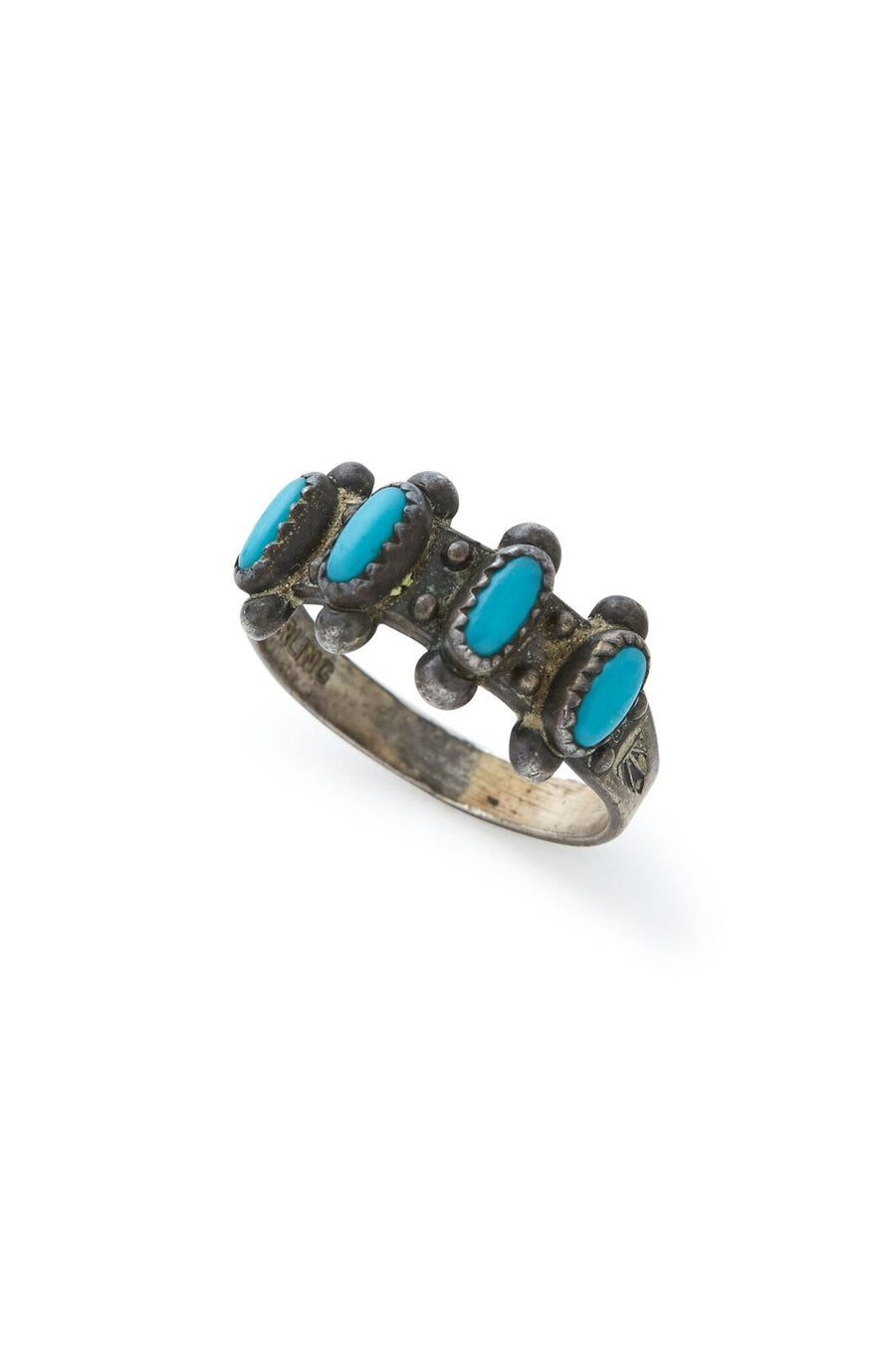 Sterling Silver Multi Turquoise Ring - SZ 7.25