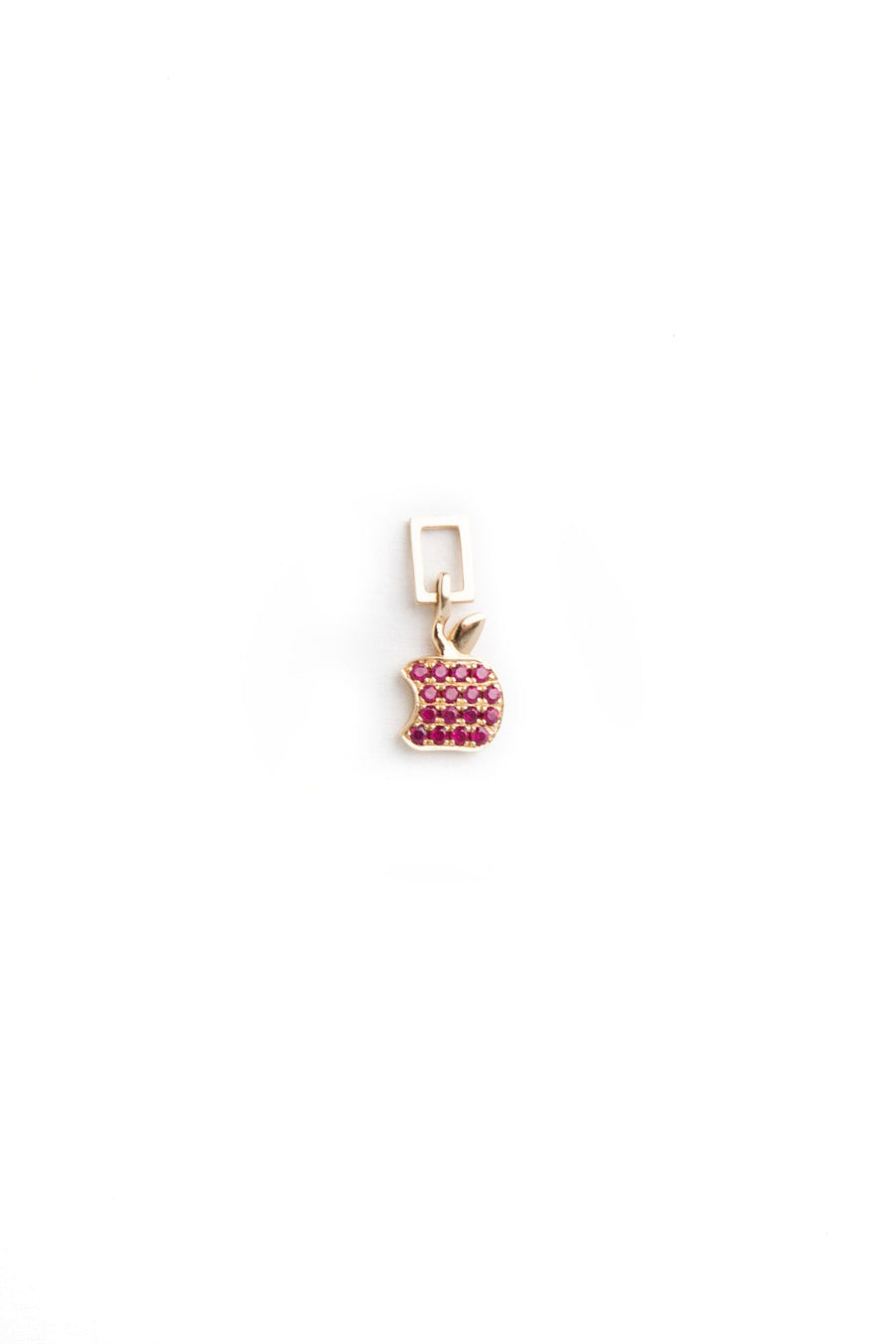 14K Yellow Gold with Rubies Bitten Apple Charm For Hoop Earring