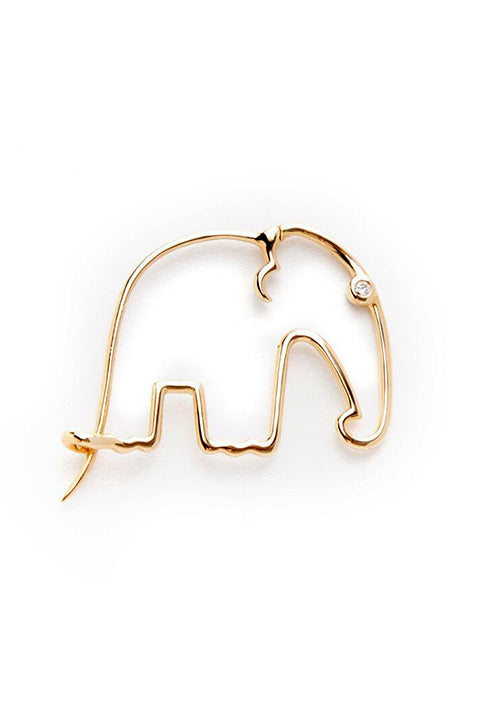 18K Yellow Gold with Grey Diamond Elephant Earring