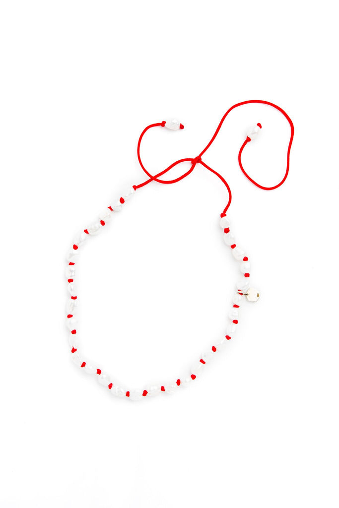 Small Baroque Pearl Strand on Red Nylon Cord Necklace
