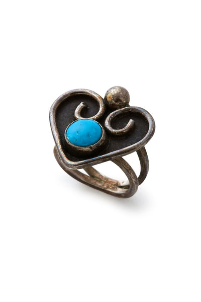 Sterling Silver Heart with Turquoise Ring