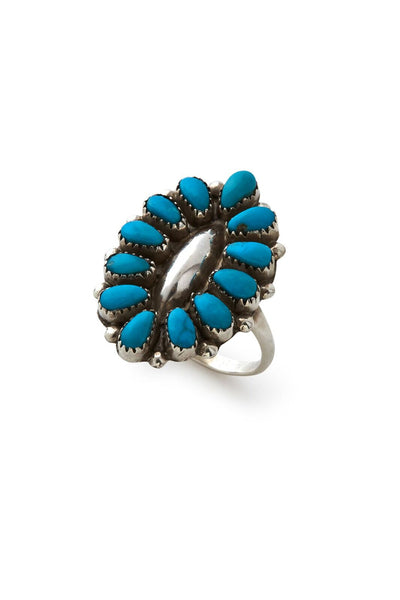 Sterling Silver Multi Turquoise Oval Ring
