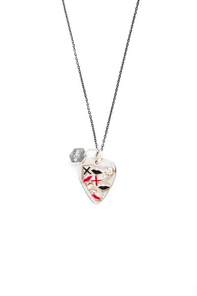 Sterling Silver with Red and Black Lacquer Lips and Skull Guitar Pick Necklace