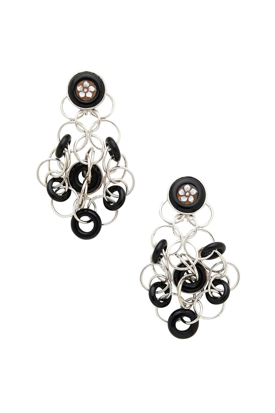 Sterling Silver and Black Cameo Earrings
