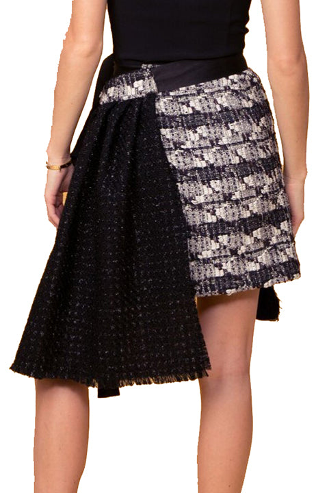 Black and White Tweed Reworked Chanel Wrap Skirt