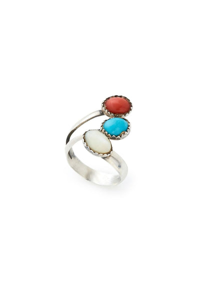 Sterling Silver Coral Turquoise and Mother of Pearl Ring