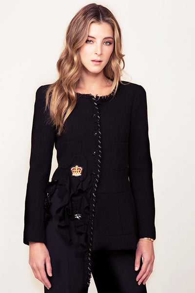 Black Wool with Chain and Crown Chanel Jacket