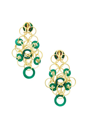 Gold and Green Cameo Earrings
