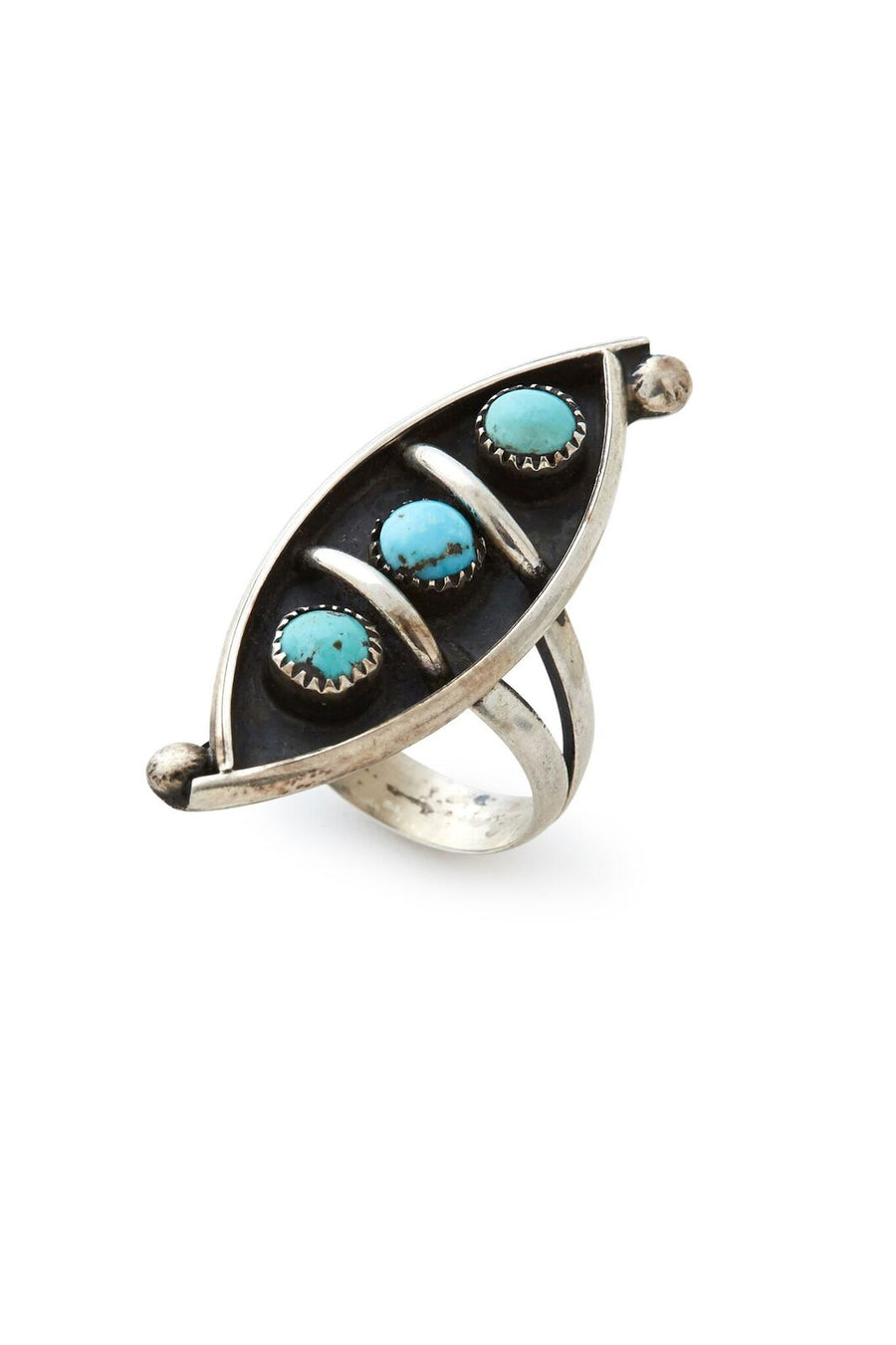 Sterling Silver Three Peas in a Pod Turquoise Ring - SZ 5.75