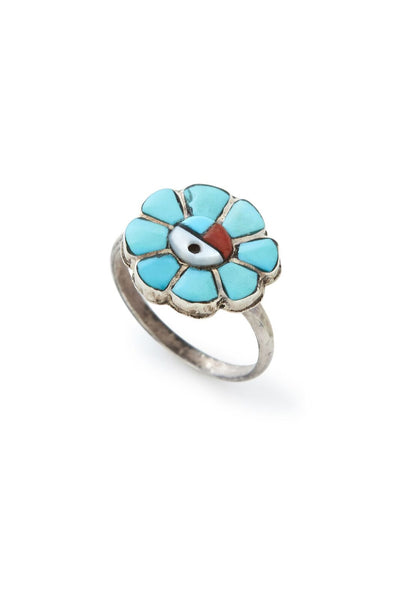 Sterling Silver Multi Stone Sun Face Zuni Ring