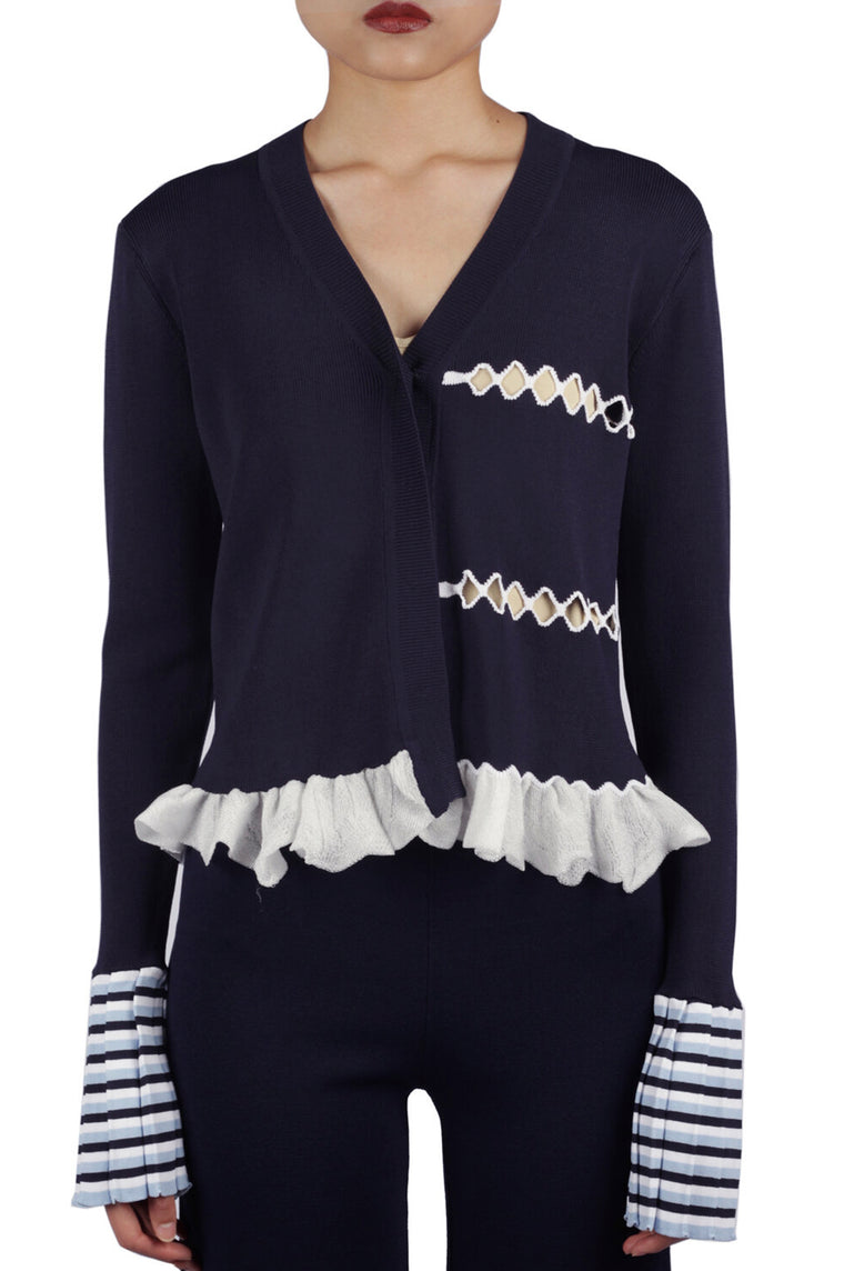 Navy Clover Bell Cardigan Sweater