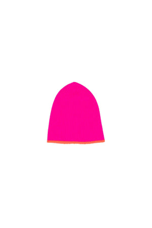 Mikey Ribbed Beanie in Neon Pink & Orange