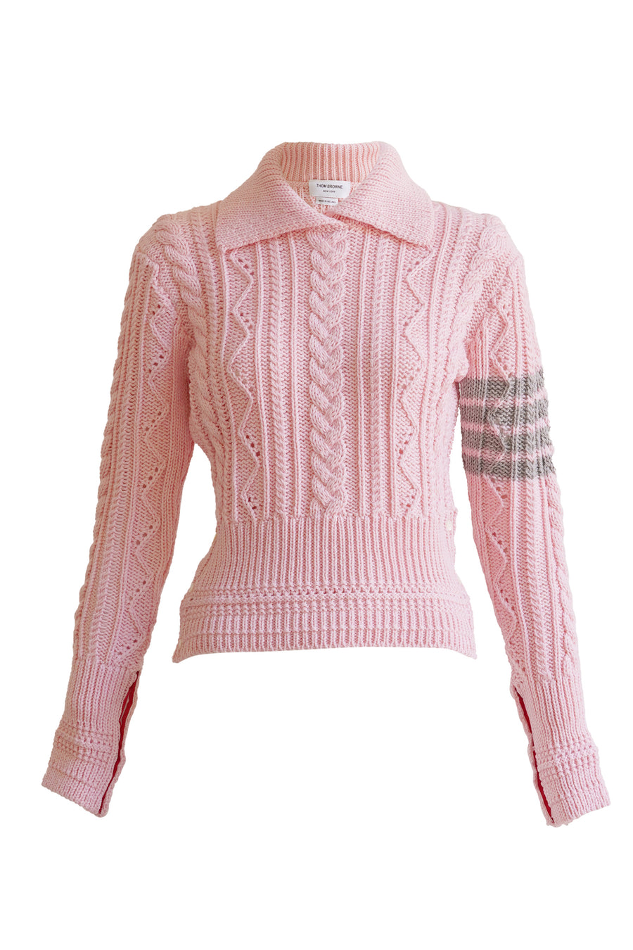 4 Bar Cable Classic Collared Crewneck in Pink